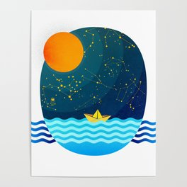 035 Owl's egg travelling the sea at night Poster