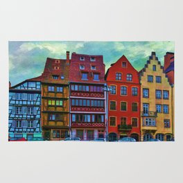 Colorful Painting Of German Architecture By Liane Wright Rug