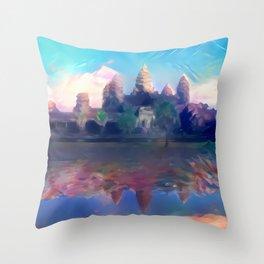 Hazy Reflection Angkor Wat Throw Pillow