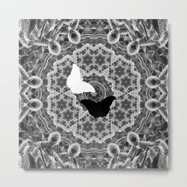 abstract wattle mandala and butterflies in black and white Metal Print