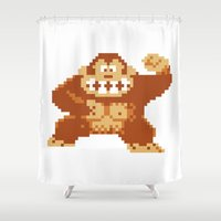 donkey kong Shower Curtains featuring Donkey Kong Bits by adovemore