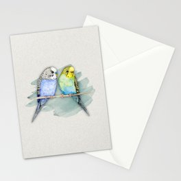 Two cute budgies watercolor Stationery Cards