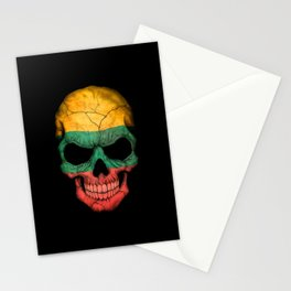 Dark Skull with Flag of Lithuania Stationery Cards