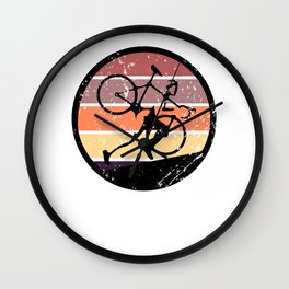 Retro Ultra Cycling - Great Cycling Gift - Retro Colors & Black Logo Design - Distressed Look Wall Clock