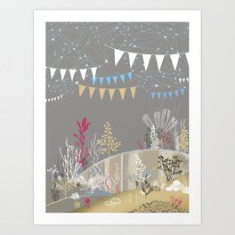 grey sea wonderland Art Print