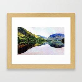 Buttermere Mirror Mountains, Lake District, UK. Watercolour landscape. Framed Art Print