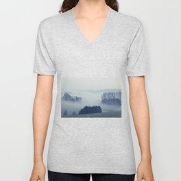 White Cover - Foggy Landscape Unisex V-Neck