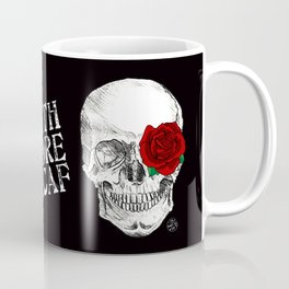 Rose Skull Black Coffee Mug