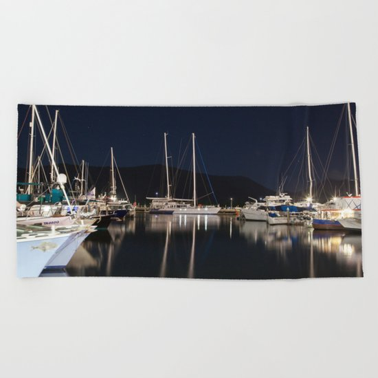Marina at Night Beach Towel