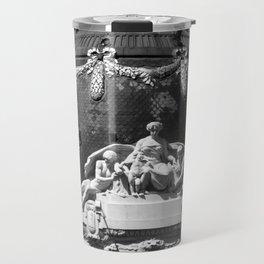 Madrid, Spain, Edificio Metrópolis Beaux-Arts Statue black and white photograph / art photography Travel Mug