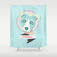 pastel goth Shower Curtains featuring Pastel Pitbull by Minette Wasserman