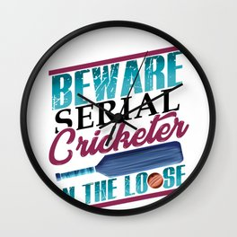 Cricket Lover Serial Cricketer on the Loose Wall Clock