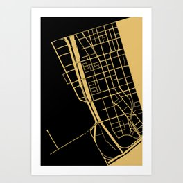 Toronto Map 1 - Gold on Black Art Print
