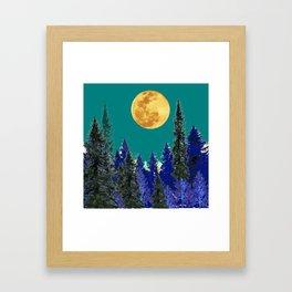 BLUE FOREST TEAL SKY MOON LANDSCAPE ART Framed Art Print