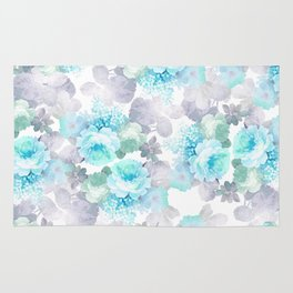 Modern teal gray chic romantic roses flowers Rug