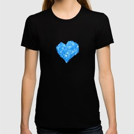 Winter Blue Crystallized Abstract Heart T-shirt