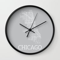 chicago map Wall Clocks featuring Chicago by Daniel P.
