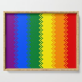 pixel pride- gay pride flag Serving Tray