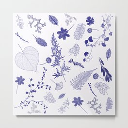Blue Botanicals Metal Print