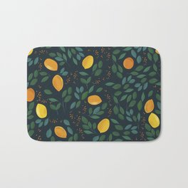 Lemon watercolor vintage pattern Bath Mat
