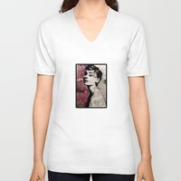 audrey V-neck T-shirts featuring Audrey by f_e_l_i_x_x