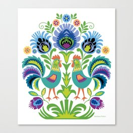 Polish Folk Design Two Roosters Canvas Print