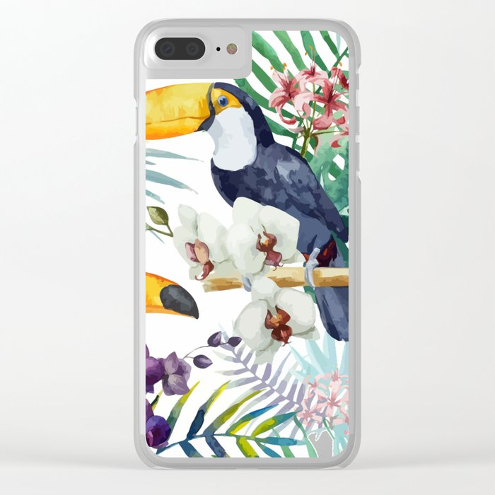Tropical Bird Pattern 04 Clear iPhone Case