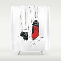 code Shower Curtains featuring Code Red by anna hammer