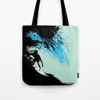 surfing Tote Bags featuring Surfing by CSNSArt