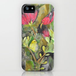 'Iwi'i and Maui 'Alauhio in Red Ohia Lehua Tree iPhone Case