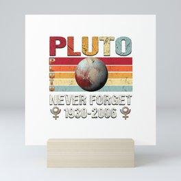 Pluto Never Forget Shirt Retro Funny Science Space Men Women T-Shirt Mini Art Print