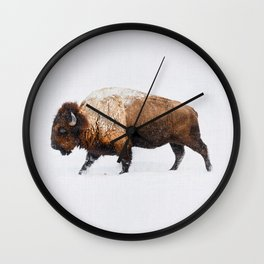 Buffalo In The Snow Wall Clock
