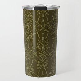 Floral leaf motif running stitch style. Travel Mug