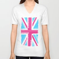 union jack V-neck T-shirts featuring Union Jack Fashion by Berberism