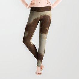 Brown and white cowhide 3 Leggings