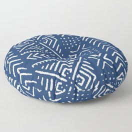 Line Mud Cloth // Dark Blue Floor Pillow
