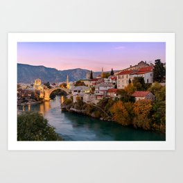 Mostar at sunset, Bosnia & Herzegovina Art Print