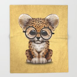 Cute Baby Leopard Cub Wearing Glasses on Yellow Throw Blanket