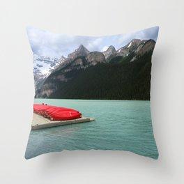 Lake Louise Red Canoes Throw Pillow