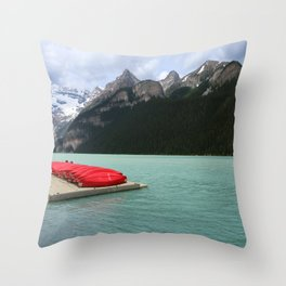 Lake Louise Red Canoes Throw Pillow