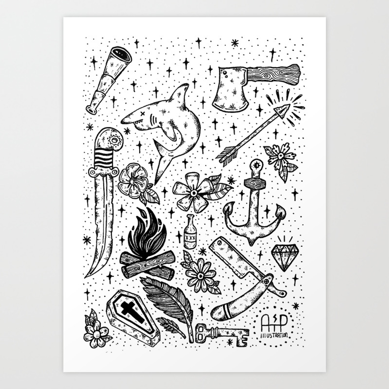 Tattoo Flash Sheet Art Print By Atpillustrations Society6