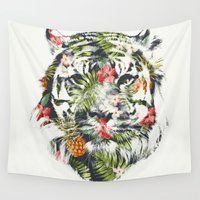 tiger Wall Tapestries featuring Tropical tiger by Robert Farkas