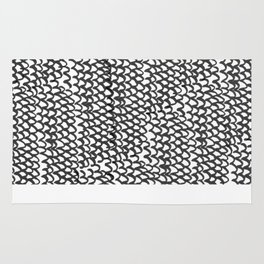 Hand painted monochrome waves pattern Rug