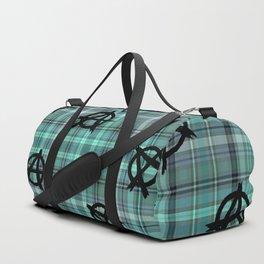 aqua  plaid anarchy Duffle Bag