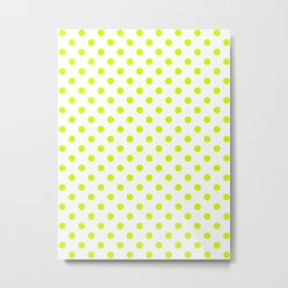 Small Polka Dots - Fluorescent Yellow on White Metal Print