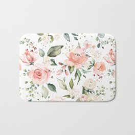 Sunny Floral Pastel Pink Watercolor Flower Pattern Bath Mat