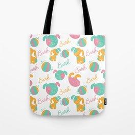Cute modern pink green orange dog pattern typography Tote Bag