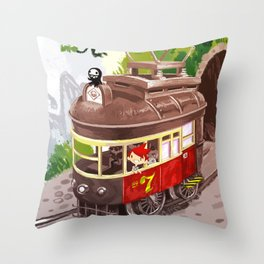Travel By Trolly Throw Pillow