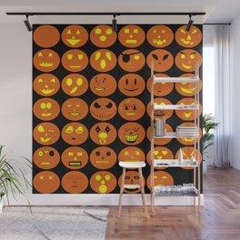 Halloween emojis Jack o' lanterns Wall Mural