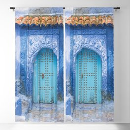 Doorways - Morocco - Chefchaouen The Blue City 19 Blackout Curtain